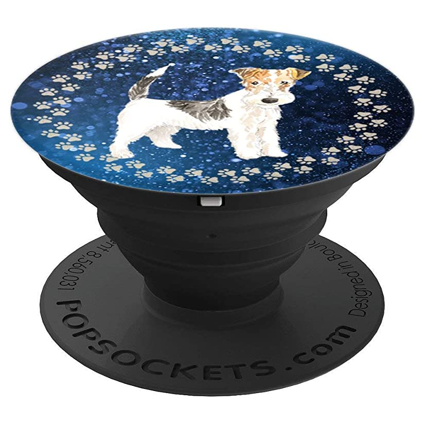 Cute Wire Haired Fox Terrier Artistic Gift for Dog Lover - PopSockets Grip and Stand for Phones and Tablets