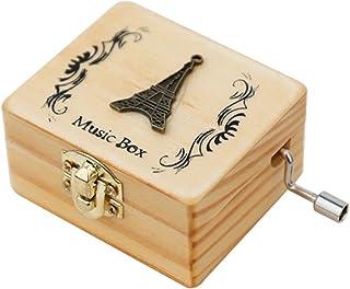LAIYYI 1 st handvevad musiklåda, mini kreativ handsnidad trämusiklåda födelsedagspresent för barn