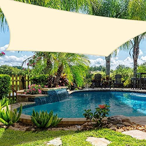 Dioxide Toldo Vela de Sombra Cuadrado Protección Rayos UV, Resistente Impermeable para Patio, Exteriores, Jardín, 2×3m Blanco lechoso