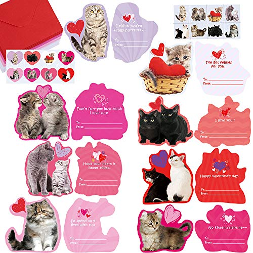 48 Sets Valentine's Day Cards Bulk Cute Cat Kitten Pet Love Greeting Cards Assortment Scratch & Sniff Strawberry Scented Cards with Envelopes Heart Stickers Tattoo for Kids Classroom Gift Exchange