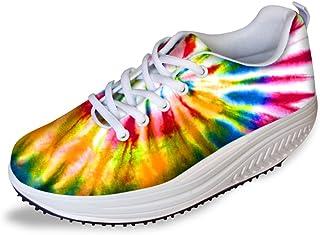 FOR U DESIGNS Women's Smart Colorful Swing Fitness Walking Shoes Platform Sneakers
