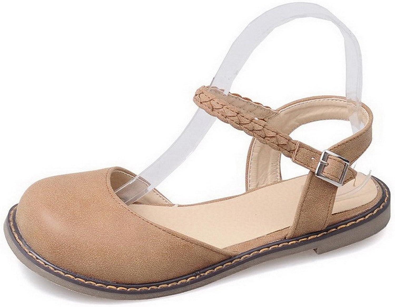 WeenFashion Women's Closed Toe Low-Heels Pu Solid Sandals, CA18LA03391