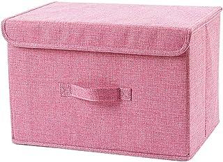 Bverionant Boîte de Rangement Lin Pliable Panier de Rangement avec Couvercle Organiseur Container de Stockage avec Poignée...