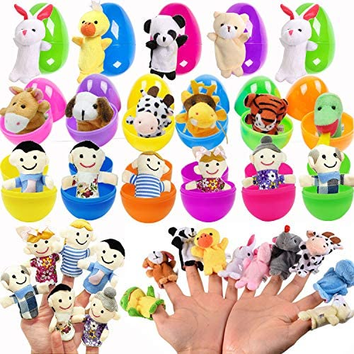 30 PCS Finger Puppet Easter Eggs for Easter Theme Party Favor Animal Zoo Family Finger Puppets product image