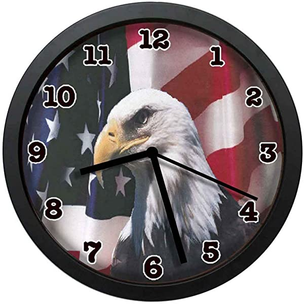 Jiushiyigezi N American Flag With Eagle Individuality Modern Wall Clock Silent Non Ticking Quartz Wall Clock For Living Room School Office 10in With Frame