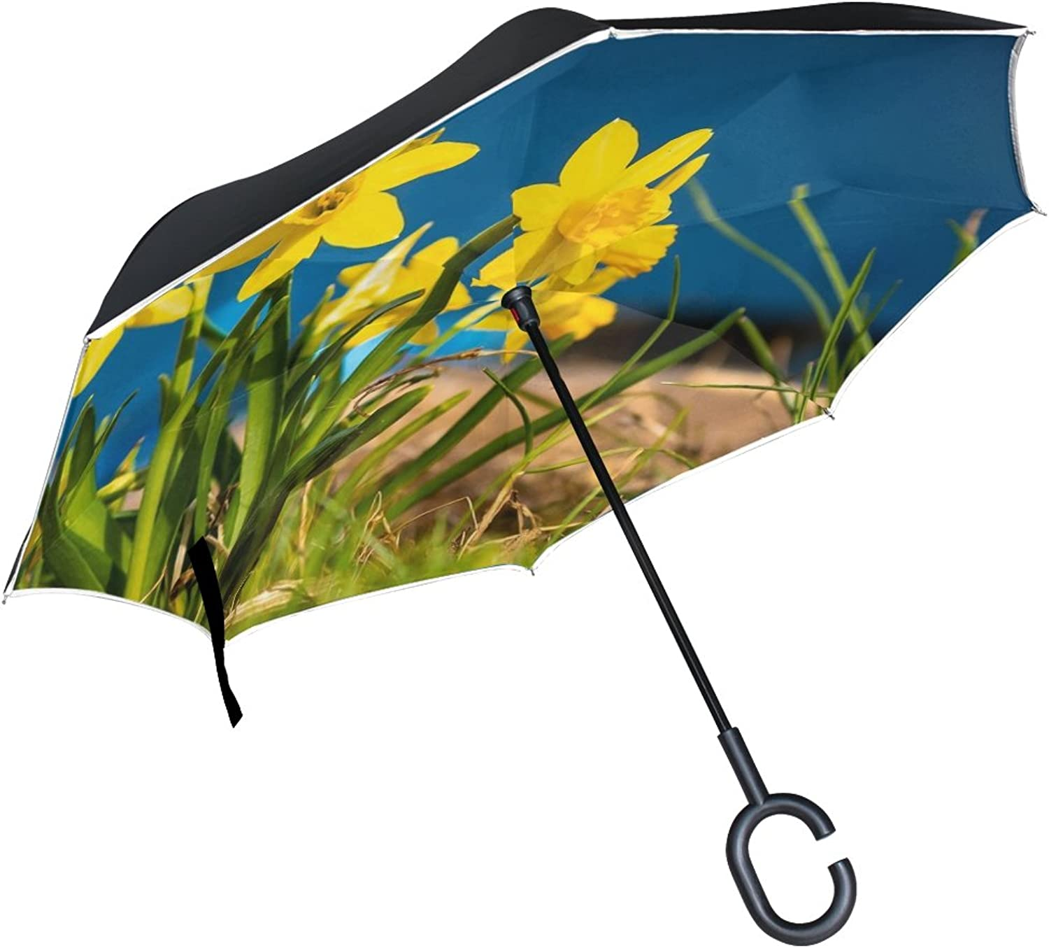 Double Layer Ingreened Nature Flower Plant Grass Meadow Umbrellas Reverse Folding Umbrella Windproof Uv Predection Big Straight Umbrella for Car Rain Outdoor with CShaped Handle