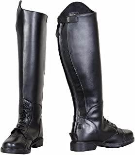 TuffRider Women's Starter Back Zip Field Boots in Synthetic Leather, Black, 7 Regular