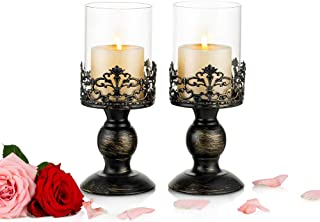 Nuptio Vintage Candle Holders for Tables Black Pillar Candle Holder with Glass Screen Cover, Antique Hurricane Candlestick...