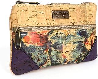 CorkLane Täschchen Kork Geldtasche - Makeuptasche Summer mit Außenfach verschließbar - Blumen