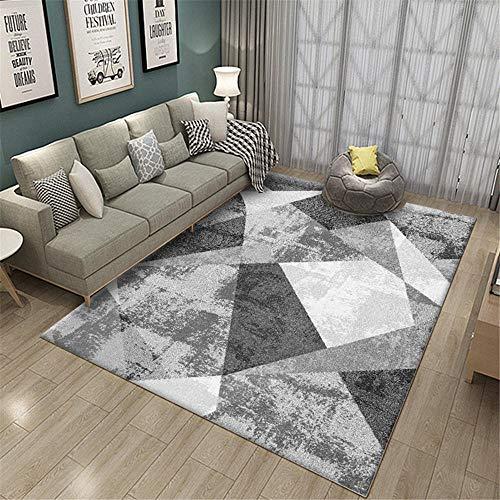 alfombra juvenil dormitorio alfombra habitación matrimonio Alfombra geométrica gris que decora la sala de estar del dormitorio moderno antideslizante y anticaída suelo exterior terraza 180X250CM 5ft 1