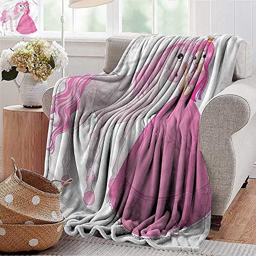 Xaviera Doherty gewichtete Decke für Erwachsene, Prinzessin, Junge Dame mit ihrem Pony, super weiches Kunstfell, Plüsch, Dekorative Decke, 152,4 x 177,8 cm