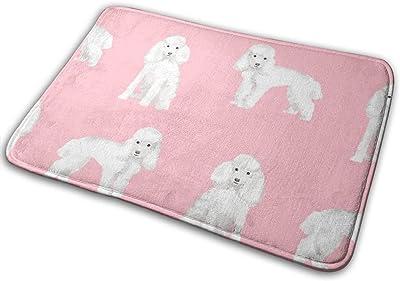 """Toy Poodle White Simple Dog Breed Pink_25015 Doormat Entrance Mat Floor Mat Rug Indoor/Outdoor/Front Door/Bathroom Mats Rubber Non Slip 23.6"""" X 15.8"""""""