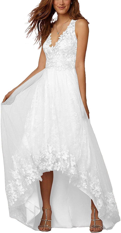 High Low VNeck Beach Wedding Dresses Lace Appliques Tulle Aline Bride Gowns 2019