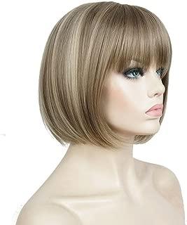 Aimole Short Bob Straight Wig with Cute Flat Bangs Synthetic Hair