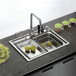 HomeLava Moderne Einbauspüle Edelstahl Spülbecken Eckig Edelstahlspüle Küchenspüle 600 x 450 mm für Küche