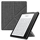 Fintie Origami Case for Kindle Oasis (10th & 9th Gen, 2019 & 2017 Release) - Slim Fit Stand Cover Support Hands Free Reading (Auto Wake Sleep for 2017 Version Only, Not for 2019 Version), De-Charcoal