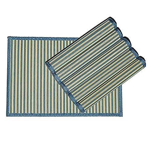 Byoeko Juego de 6 Salvamanteles Individuales rectangulares de Bambú con Borde de Tela de (45 x 30 cm) (Azul)