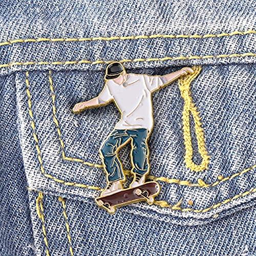 HCMA Emaille Pin Cool Guy Anstecknadeln Broschen für Tasche Hut Rucksack Zubehör Geschenk für Skateboard-Liebhaber