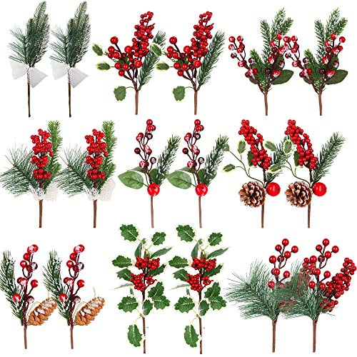 Christmas Picks Artificial Pine Cone Picks Decorations - 18 Pack Christmas Picks and Sprays Red Berry Branches Stem with Holly Leaves for Xmas Tree Christmas Wreath Winter Holiday D¨¦cor