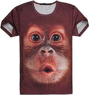 Vepodrau Magliette da Uomo brutte Estate Manica Corta Divertente Orangutan Stampa t-Shirt t-Shirt