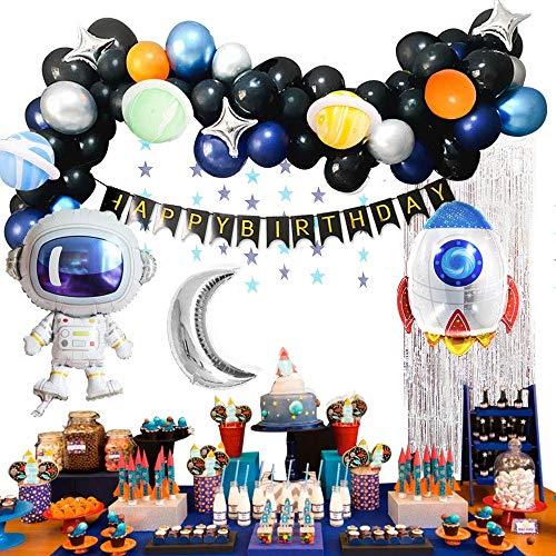 MMTX Decoracion Cumpleaños Globos de Feliz Cumpleaños Primer Cumpleaños Niño 1 año con Guirnalda Cumpleaños, Cohete Astronauta Moon Foil Globo(61pcs, No Contiene Carteles)