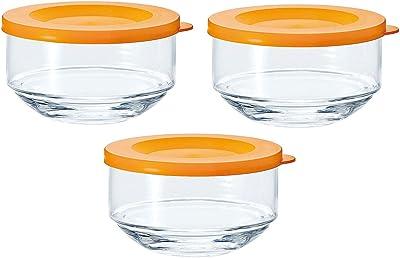 東洋佐々木ガラス 保存容器 オレンジ 約φ10.1×6.1cm マイデリカキーパー 日本製 B-31301-OR-JAN 3個入り