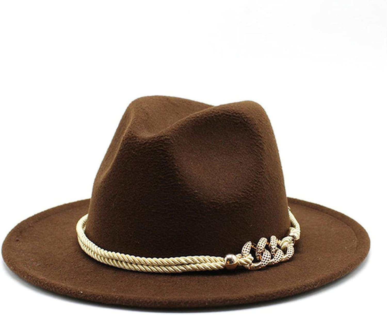 ASO-SLING Fedora Hats Women Metal Rope Chain Belt Luxury Jazz Cap Wide Brim Solid Church Elegant Felted Winter Women Hats