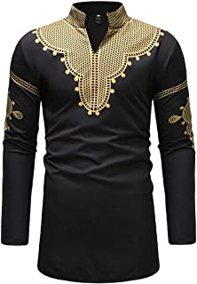 Mens African Clothing Tribal Dashiki Print Long Shirt Traditional Ethnic Slim Fit Outfit S-3XL