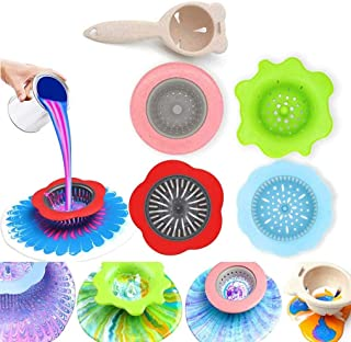 5 Pcs Plastic Pouring Strainers, Flower Acrylic Paint Strainers,Silicone Kitchen Sink Drain Basket for Painting Pouring Su...
