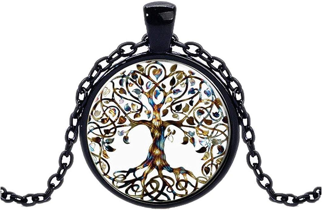 FOY-MALL Fashion Metal Glass Tree Pendant Chain Necklace XL1610N