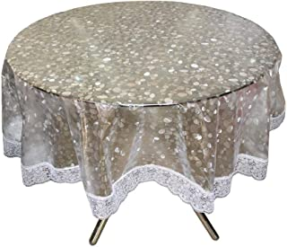 CASA-NEST PVC Waterproof 4 Seater Round Table Cover with Silver Lace 60inch (Silver)