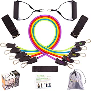 Resistance Bands for Legs and Butt - Heavy Duty Exercise Bands with Handles, Door Anchor and Ankle Straps - Up to 75 Lbs - Physical Therapy Bands, Stretch Bands for Arms, Shoulders, Home Gym Workout