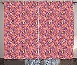 Tr674gs Cortinas florales vintage, flores y remolinos en tonos de verano, cortinas de ventana de sala de estar, dormitorio, 2 paneles, 280 x 200 cm, color rubí pálido, mostaza, lavanda azul seco rosa