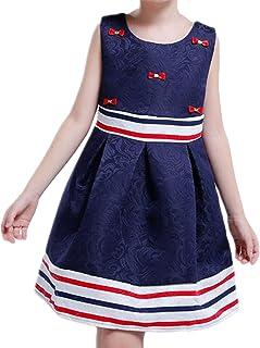 (チェリーレッド) CherryRed 女の子 ノースリーブ フォーマルドレス 横縞 夏 紺