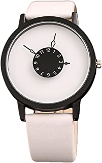 Auntwhale Round Case Quartz Analog Watches Luxury Minimalist Watches Simple Couple Lovers Wrist Watch Leather Band Watch Turntable dial Men and Women Wrist Watch