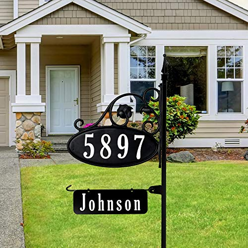 """Address America Park Place Oval Reflective 911 Home Address Sign for Yard with Name Rider on Garden Flag Post - Custom Made Address Plaque with Name - Wrought Iron Look (47"""" Post) - NP"""