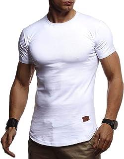 LEIF NELSON Herren Sommer T-Shirt Rundhals Ausschnitt Slim Fit Baumwolle-Anteil   Cooles weißes schwarzes Basic Männer T-Shirt Crew Neck   Jungen Kurzarmshirt O-Neck Kurzarm Sleeve Top Lang   LN8294