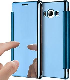 4ff25d90b75 YSIMEE Funda Samsung Galaxy J7 2016,Carcasa Clear View Cover Funda de Espejo  Flip Folio
