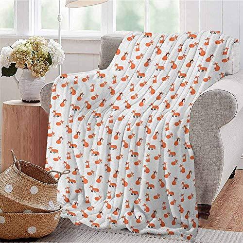 Luoiaax Fox Commercial Grade Printed Blanket Hand Drawn Funny Fox Playing Peekaboo Sleeping and Sitting Cartoon Animal Pattern Queen King W70 x L70 Inch Orange White