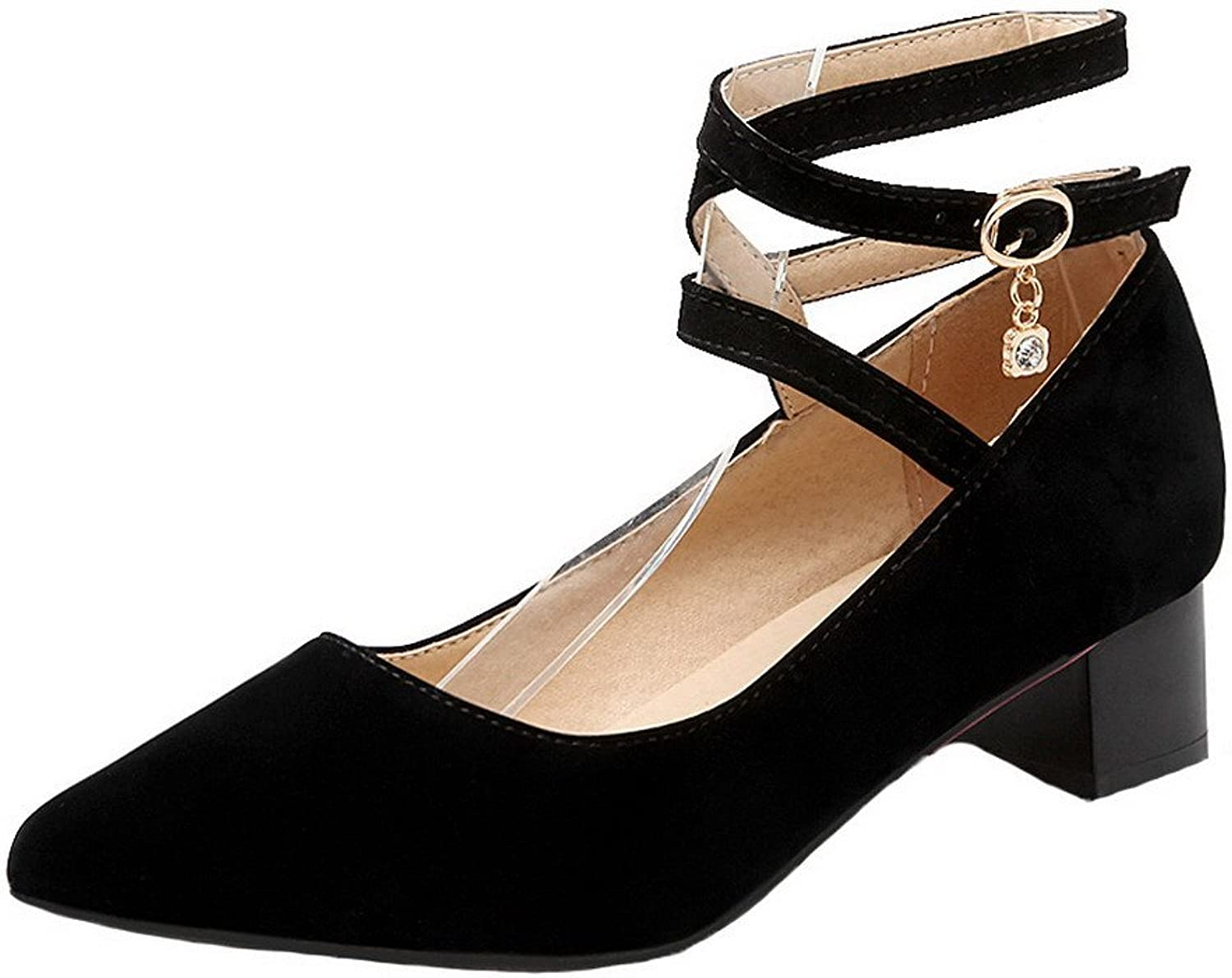 AllhqFashion Women's Kitten-Heels Solid Buckle Frosted Closed-Toe Pumps-shoes