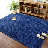 Modern Soft Fluffy Large Shaggy Rug for Bedroom Livingroom Dorm Kids Room Indoor Home Decorative, Comfy Non-Slip Plush Furry Fur Area Rugs Nursery Accent Floor Carpet 5x8 Feet, Navy Blue