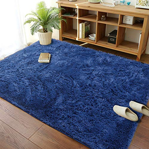 Merelax Fluffy Shag Area Rugs for Bedroom Soft Fuzzy Shaggy Rugs for Living Room Accent Decor Fur Carpet Nursery Decor Floor Teens Girls Dorm Room Rug 3x5' Light Navy