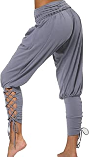 CiCiYours Harem Pants for Women Lace up Leggings Elastic Waist Joggers Pants Loose Lounge Hippie Workout Yoga Pants