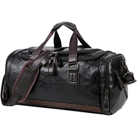 OCCIENTEC Large Premium Quality Gym Bag Duffle Bag Sports Bag Overnight Travel Holdall Bag Pu Leather Weekend Bag Carry-on Luggage for Men and Women (Black-40L)