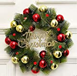 Ekotech 24 inch Christmas Wreath, Pre-lit Artificial Christmas Wreath with Warm White 40 LEDs Lights and 32 Red and Yellow Ball, Battery Operated, Decoration for Front Door Outdoor and Party Décor
