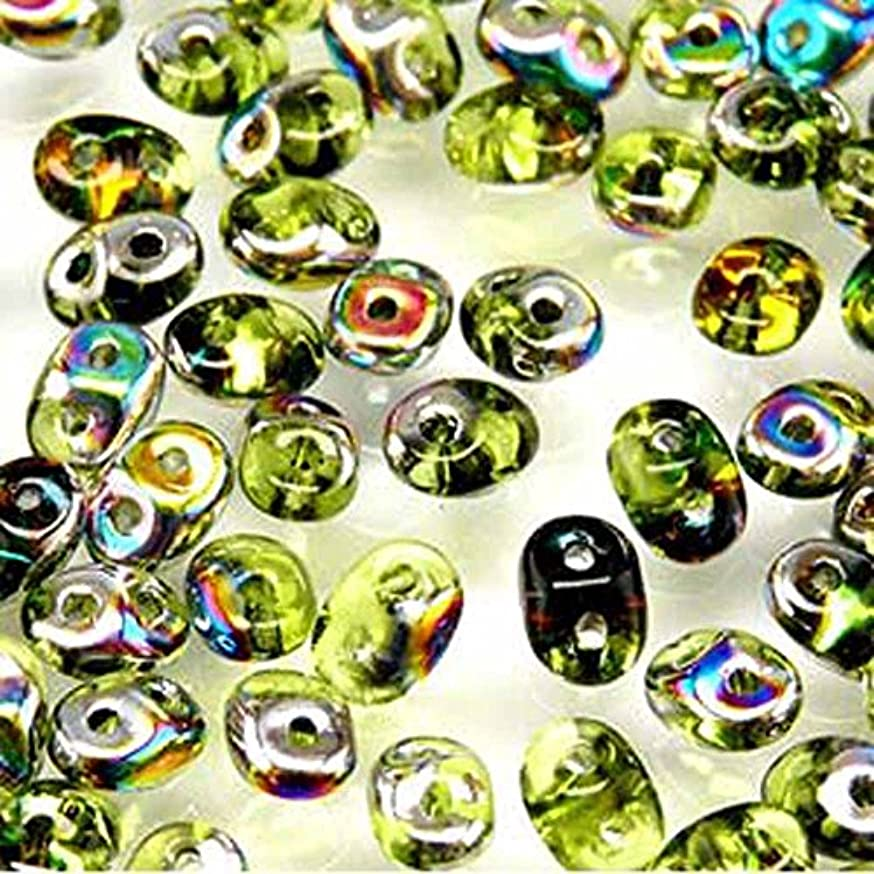 Olivine Vitrail SuperDuo Czech Two Hole Seed Beads 2.5x5mm Approx 20 Grams