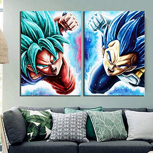 Leinwand Wandkunst, Wand-Deko Leinwandbilder Ölgemälde 2 Stück Vegeta Goku Anime Dragon Ball Super Cartoon Modular Poster Moderne HD Printed Home Deco Leinwand Gemälde (Size (Inch) : 60x90cmx2pcs)