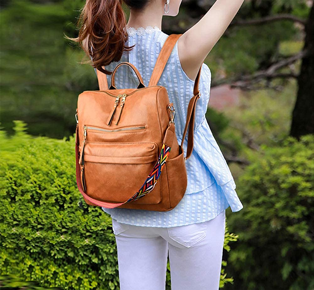Womens Leather Backpack Purse Soft Casual Travel Dayback Multipurpose Detachable Covertible Shoulder Bag