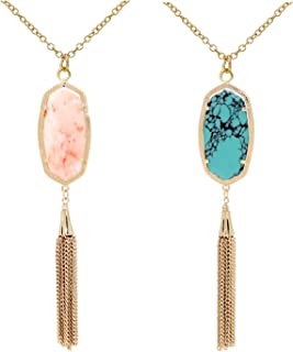 2 Pcs/Set Big Oval Synthetic Stone Necklace for Women Snakeskin Chain Long Tassel Fringed Necklace