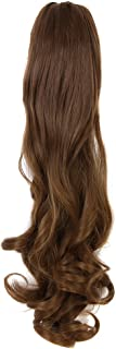 Ponytail clip in hair extensions Long Curly weave Hairpiece 24 inches Strawberry Blonde #27 claw clip On in synthetic Pony tail 160g Fake Hair with a jaw/claw clip
